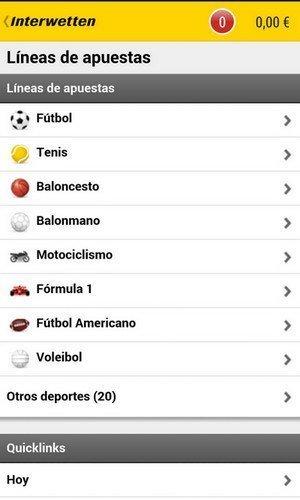 App movil de Interwetten