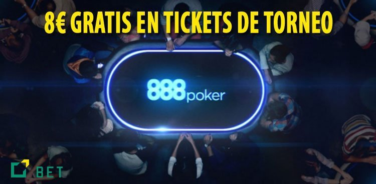 BONO SIN DEPÓSITO 888POKER, 8€ GRATIS EN TICKETS