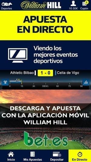 Descarga la app de William Hill, la instalas y ya estás preparado para apostar.