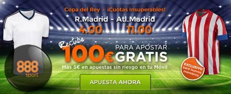 888sport: apuestas con cuotas mejoradas en Real Madrid vs Atlético de Madrid (Copa del Rey, 15 enero)