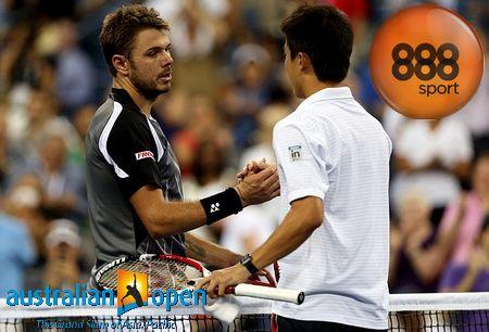 Ver partido Stanislas Wawrinka vs Kei Nishikori y apostar en 888sport  (Open de Australia, 28 enero)