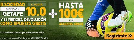Ver partido Real Sociedad vs Getafe y apostar en Betfair con supercuota 10 + bono de 100€ (16 marzo, Liga BBVA)